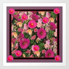 PINK FLOWERS GARDEN PUCE ART PATTERNS Art Print