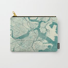 Boston Map Blue Vintage Carry-All Pouch