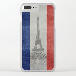 Flag of France with Eiffel Tower Vintage style Clear iPhone Case