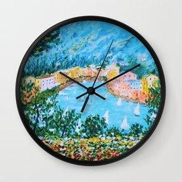 Portofino Harbor and Flowers Landscape Painting Wall Clock