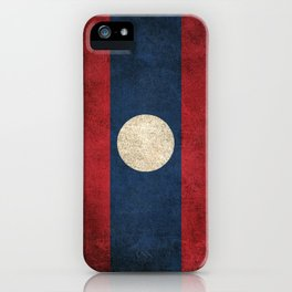 Old and Worn Distressed Vintage Flag of Laos iPhone Case