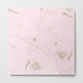 Luxe gold and blush marble image Metal Print