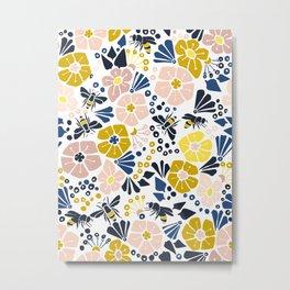 Flower meadow with bees Metal Print