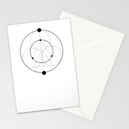 Circle Moon White Stationery Cards
