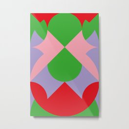 An upside down Pink Butterfly in a green, red and blue beautiful landscape. Green Sun. Metal Print