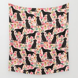 Flat Coated Retriever dog breed pet art dog floral pattern gifts for dog lover pet friendly Wall Tapestry