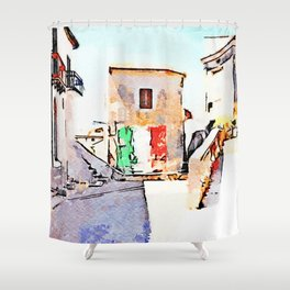 Tortora glimpse with Italian flag painted on the wall of building Shower Curtain