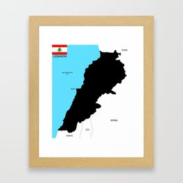 political map of lebanon country with flag Framed Art Print