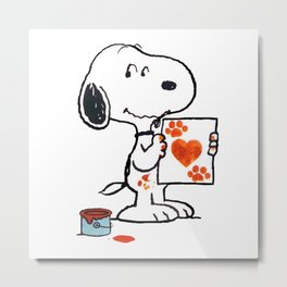 painting snoopy hand Metal Print