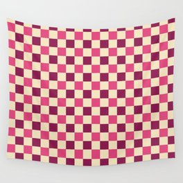 Pink Crossings - Classic Gingham Checker Print Wall Tapestry