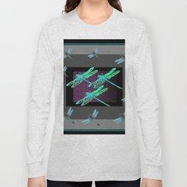 Western Black-Grey Blue Dragonflies Art Long Sleeve T-shirt