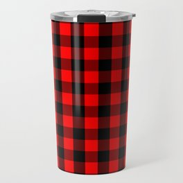 Classic Red and Black Buffalo Check Plaid Tartan Travel Mug