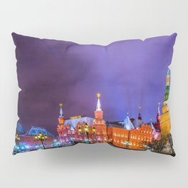 Moscow Manege Square, Museum Of Russian History, The Kremlin At Winter Night Pillow Sham