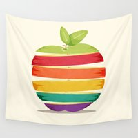 apple Wall Tapestries featuring Rainbow Apple by mewdew