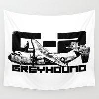 greyhound Wall Tapestries featuring C-2 Greyhound by Death Dagger