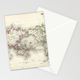 Vintage Map of The World (1844) Stationery Cards
