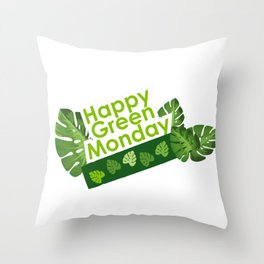 Happy leaves deco - Green Monday Throw Pillow