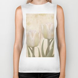 Painterly tulips with golden water splashes, vintage look Biker Tank