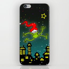 Christmas Frog Jumping out of Joy iPhone Skin
