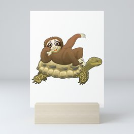 Cute and Funny Adorable Sloth and Turtle Mini Art Print