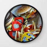 junk food Wall Clocks featuring Junk Food by Renatta Maniski-Luke