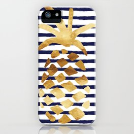 Pineapple & Stripes - Navy / White / Gold iPhone Case