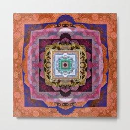 Rustic Antique Tones Sacred Geometry Boho Mandala Metal Print