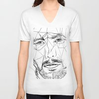 men V-neck T-shirts featuring Men by Mary Szulc