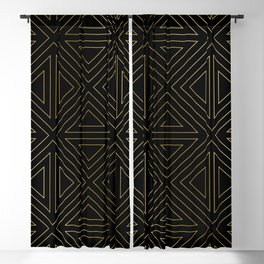 Angled Gold & Black Blackout Curtain