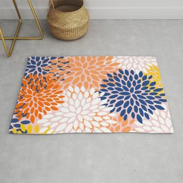 Floral Prints, Abstract Art, Blue, Coral and Yellow, Colourful Print Rug