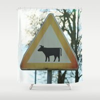 cows Shower Curtains featuring Attention cows by Falko Follert Art-FF77