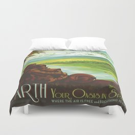 Earth Retro Space Poster Duvet Cover