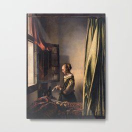 Johannes Vermeer - Girl Reading a Letter at an Open Window Metal Print