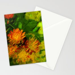Orange Hawkweed Blossoms Abstract Impressionism Stationery Cards