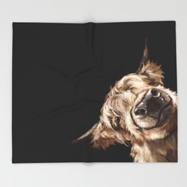 Sneaky Highland Cow in Black Throw Blanket