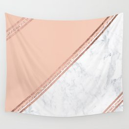Modern stylish rose gold glitter geometric stripes blush pink white marble color block Wall Tapestry