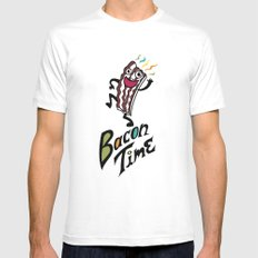 Bacon Time MEDIUM White Mens Fitted Tee