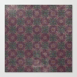 Vintage abstract burgundy green geometrical pattern Canvas Print