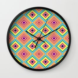 Colorful geometric pattern octagon Wall Clock
