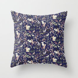 Dark Intricate Floral Pattern Throw Pillow