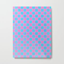 Checker Game:  Pink and Blue Metal Print