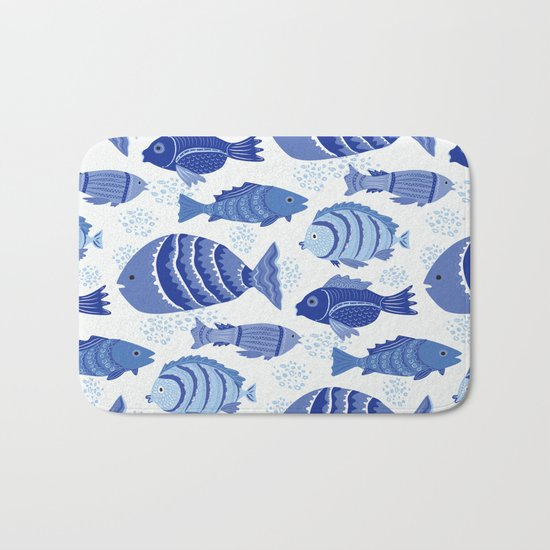 Fancy blue fish bath mat by darlene seale society6 for Fish bath rug