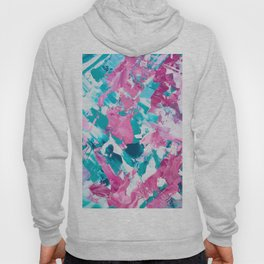 Pink turquoise modern abstract acrylic painting Hoody
