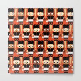 Baseball Black and Orange - Super cute sports stars Metal Print