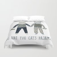toddler Duvet Covers featuring You are the Cat's Pajamas by Yuliya