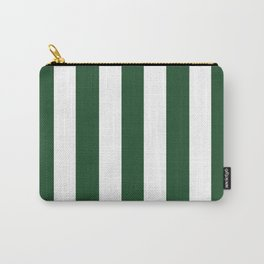 Cal Poly Pomona green - solid color - white vertical lines pattern Carry-All Pouch