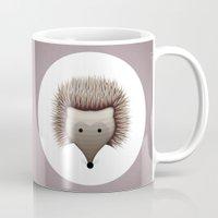 hedgehog Mugs featuring hedgehog by ovisum