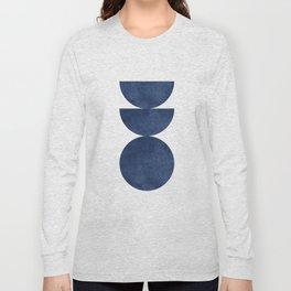 Woodblock navy blue Mid century modern Long Sleeve T-shirt