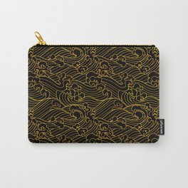 Golden Waves in Black Carry-All Pouch