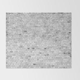 White Washed Brick Wall - Light White and Grey Wash Stone Brick Throw Blanket